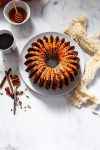 Pumpkin pecan bundt cake with brown butter maple glaze