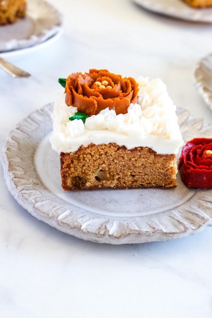 apple pumpkin sheet cake with maple buttercream frosting
