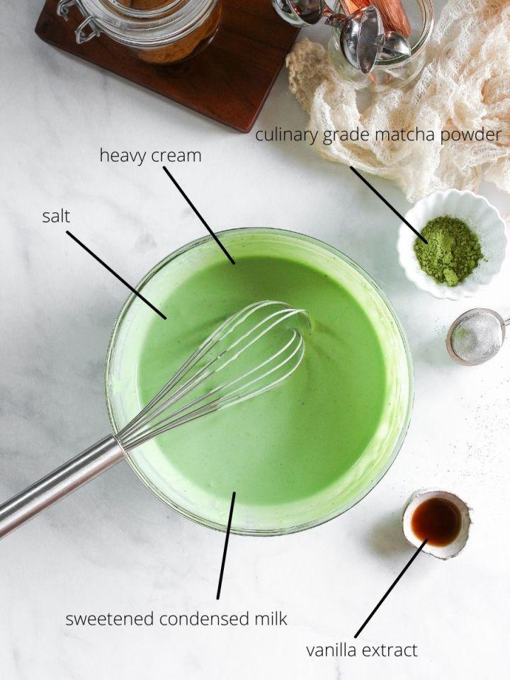 Ingredients for Soft serve matcha ice cream