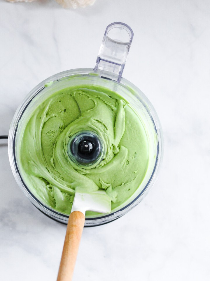 A bowl of blended matcha ice cream