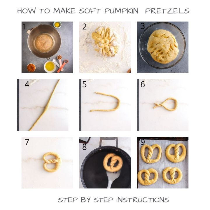 step by step instruction on how to make pumpkin pretzels