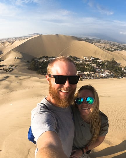 hiking in the huacachina desert peru