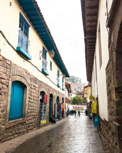 Looking into Plaza de Armas outside Hostal Inti Wasi