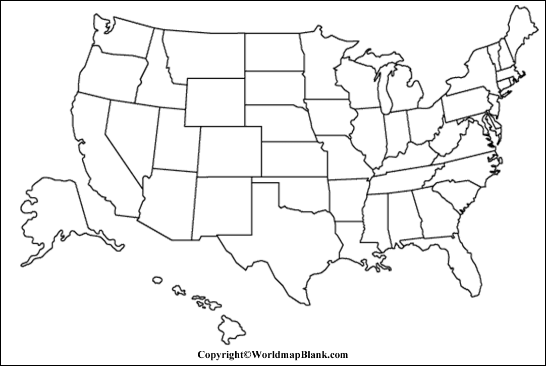 Printable Blank Map Of Usa Outline Transparent Png Map