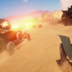 official battlefield 1 press image depicting vehicles with turret guns driving across desert