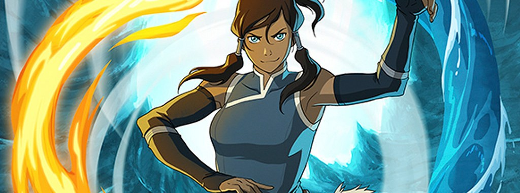 the main character, korra, swirls fire and ice elements around her