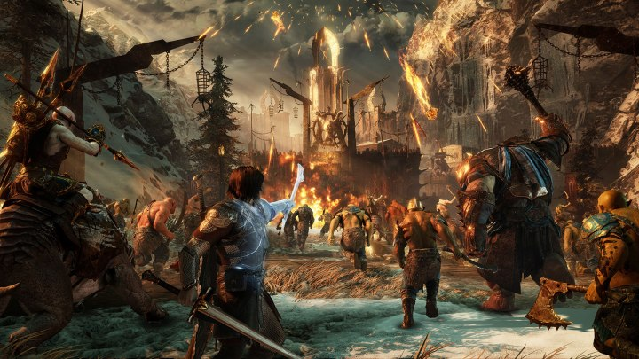 war torn orc army attacking a city
