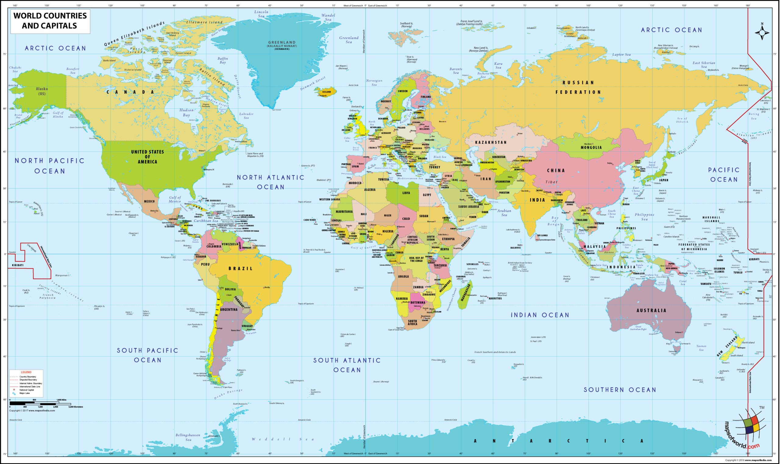 Printable Blank World Map With Countries Capitals Pdf World Map With Countries