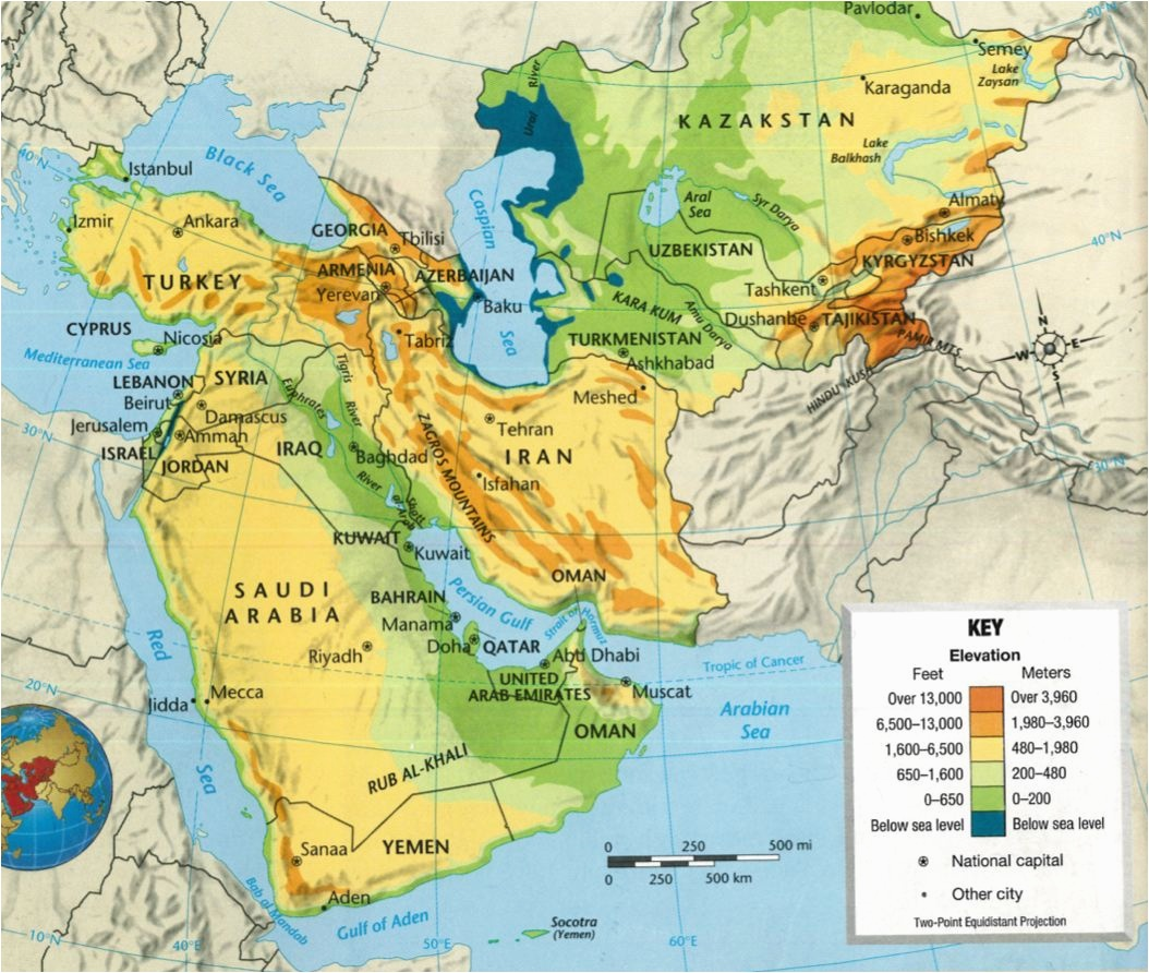 Full Detailed Blank Southwest Asia Political Map In