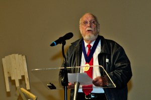 Hugh Johnson responds after receiving the World Methodist Peace Award.