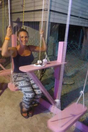 Brownie Sundae on a swing!