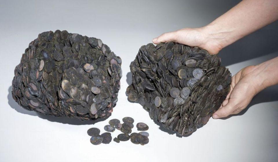 Ancient Bronze Roman Era Coins Found in Caesarea