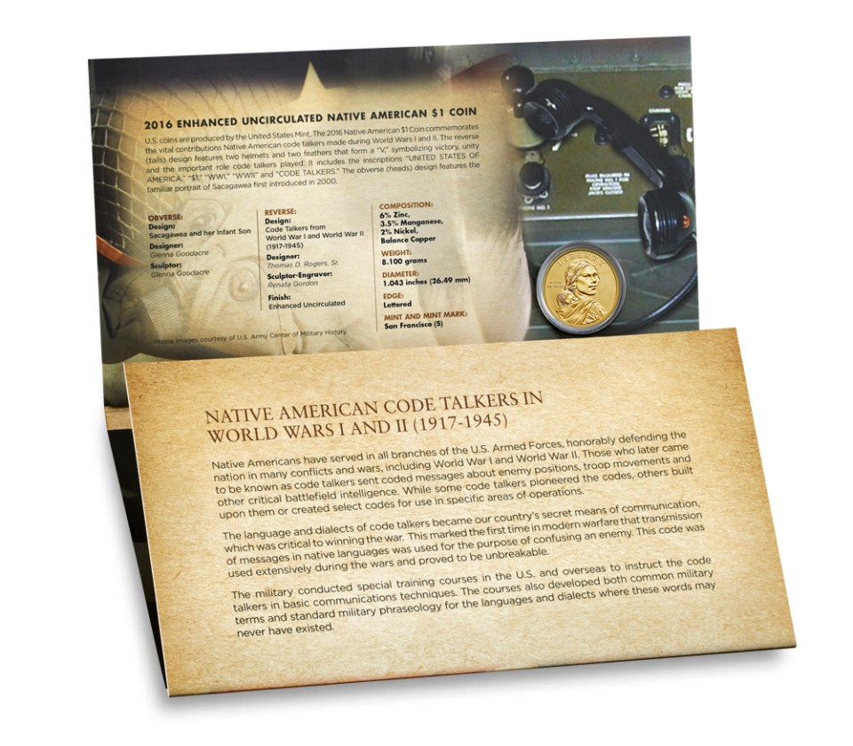USA 2016 Coin and Currency Set - Code Talkers Folder