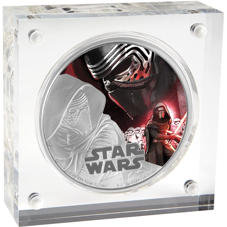 Star Wars: The Force Awakens 2016 Kylo Ren Silver Coin In Display Box