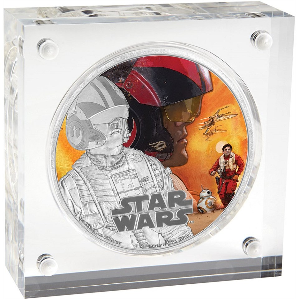 Star Wars: The Force Awakens 2016 Poe Dameron Silver Coin In Display Box