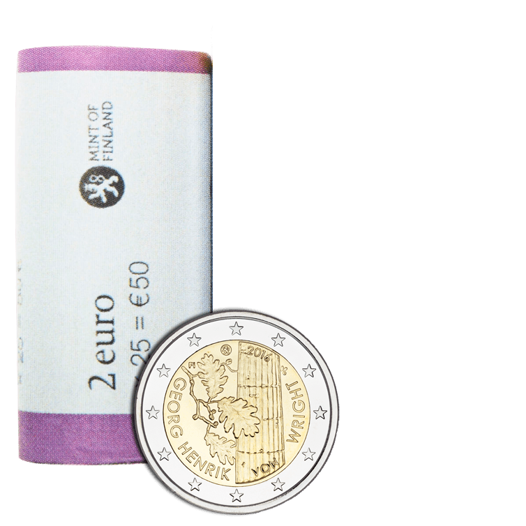 Finland 2016 Commemorative €2 Georg Henrik von Wright Coin Roll