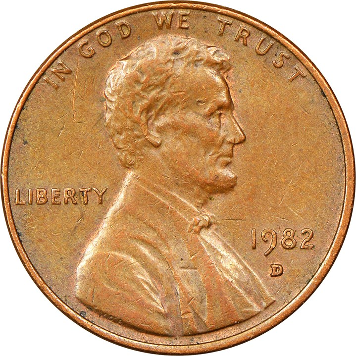 USA 1982-D Small Date Bronze Lincoln Memorial Penny Obverse
