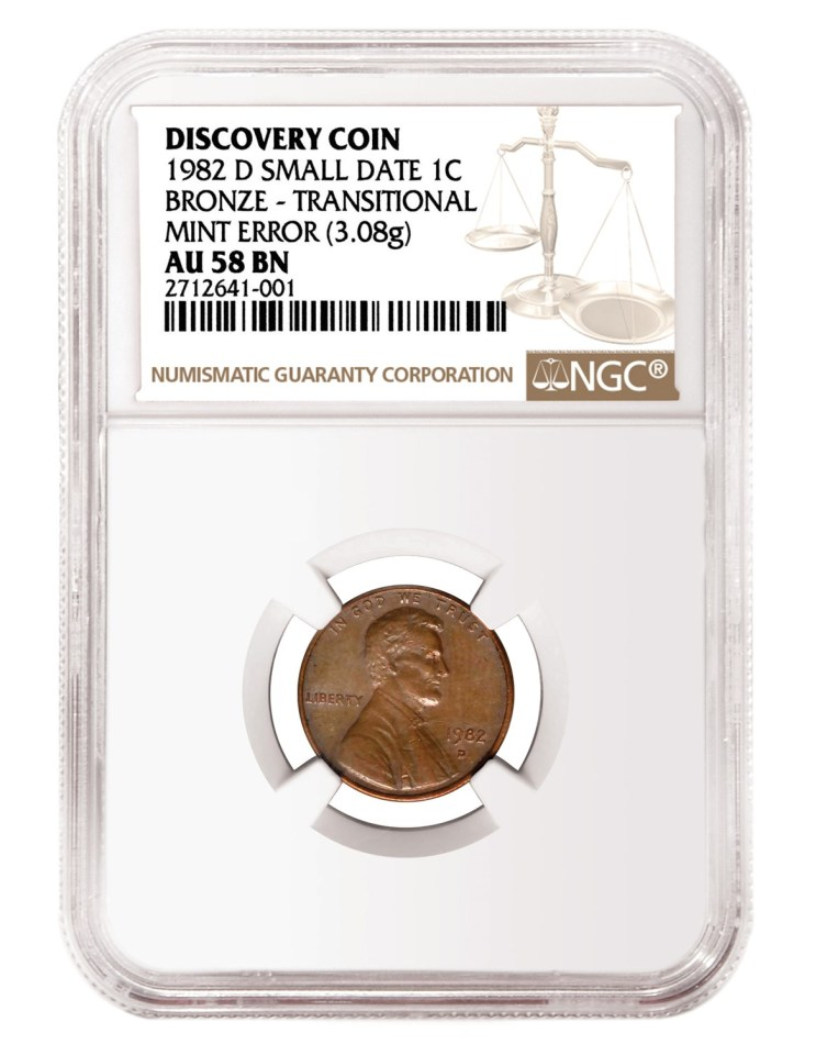 USA 1982-D Small Date Bronze Lincoln Memorial Penny NGC AU-58