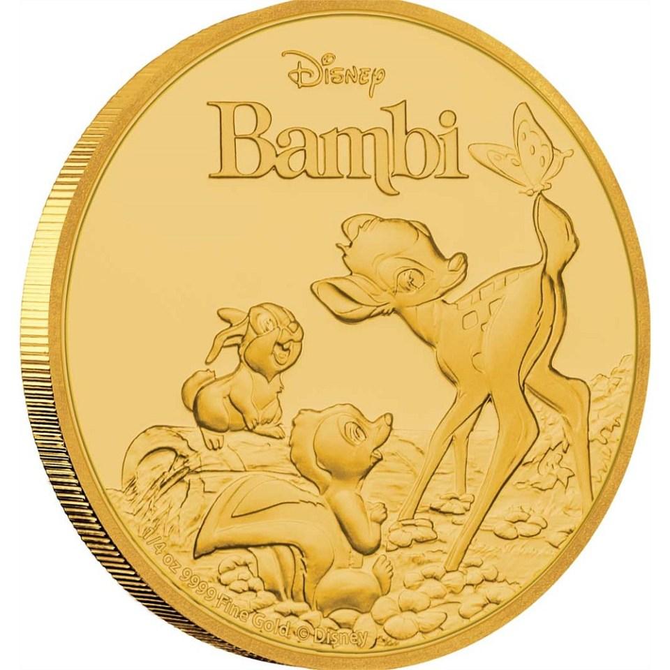 Bambi 75th Anniversary Gold 1/4oz Coin Reverse