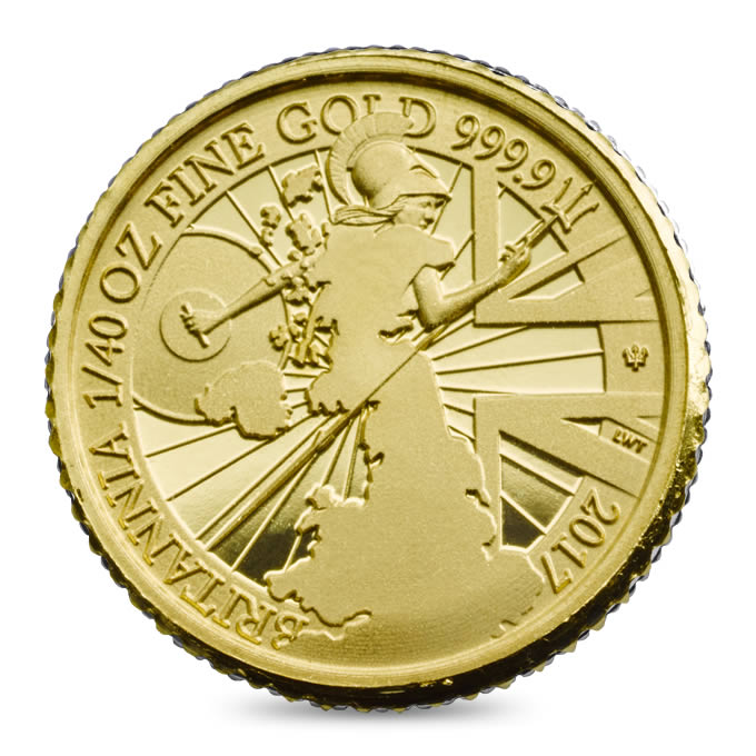 UK 2017 Proof Britannia 40th ounce Gold Coin Reverse