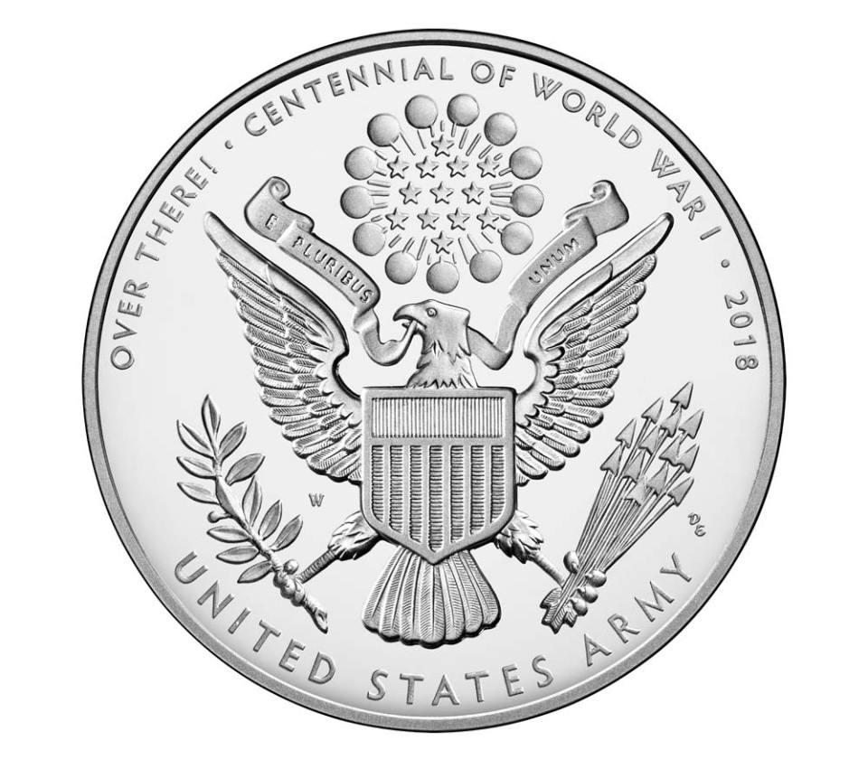 USA WWI Centennial Army Silver Medal Reverse