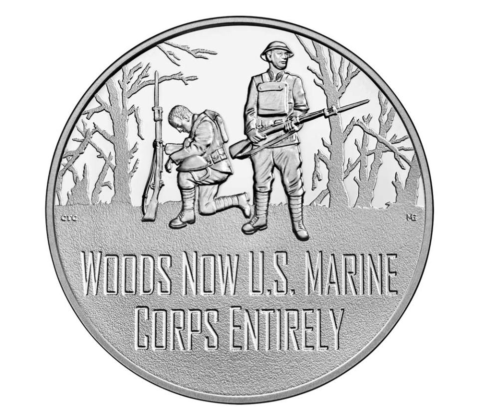 USA WWI Centennial Marines Silver Medal Obverse
