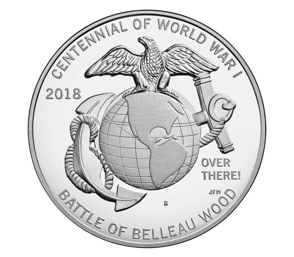 USA WWI Centennial Marines Silver Medal Reverse