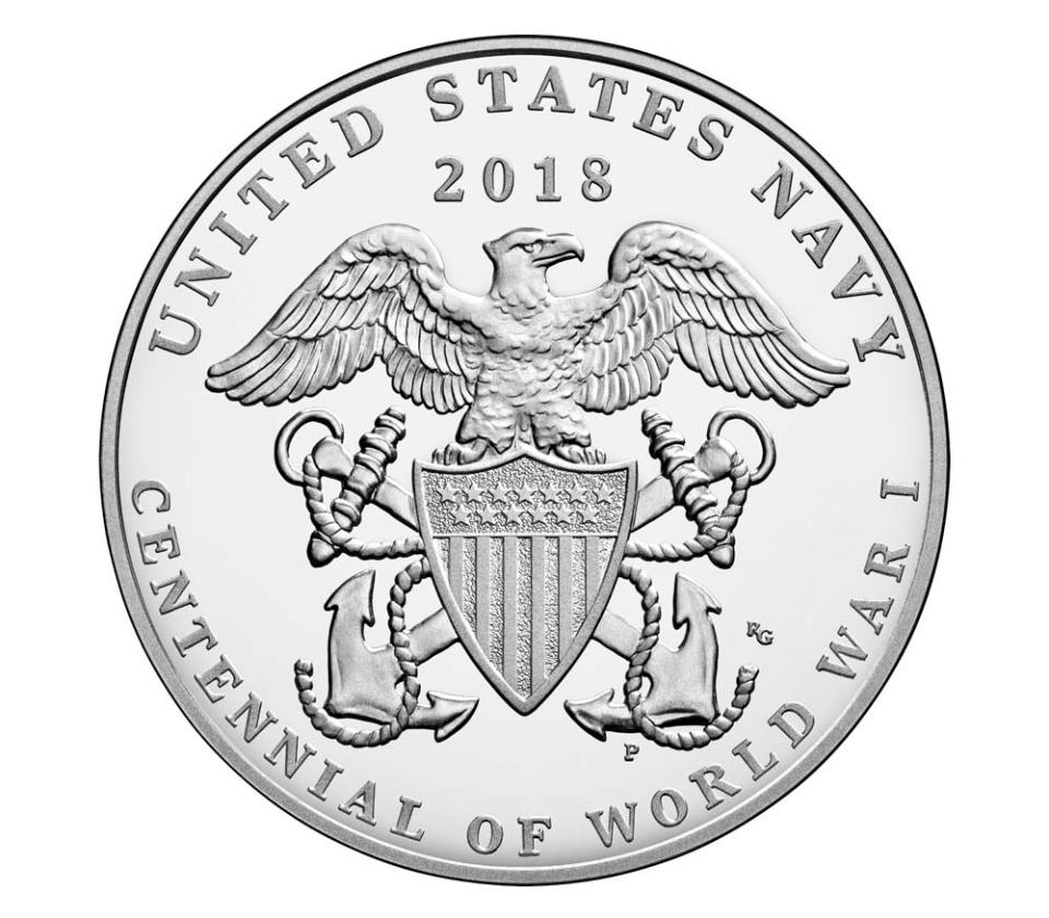 USA WWI Centennial Navy Silver Medal Reverse