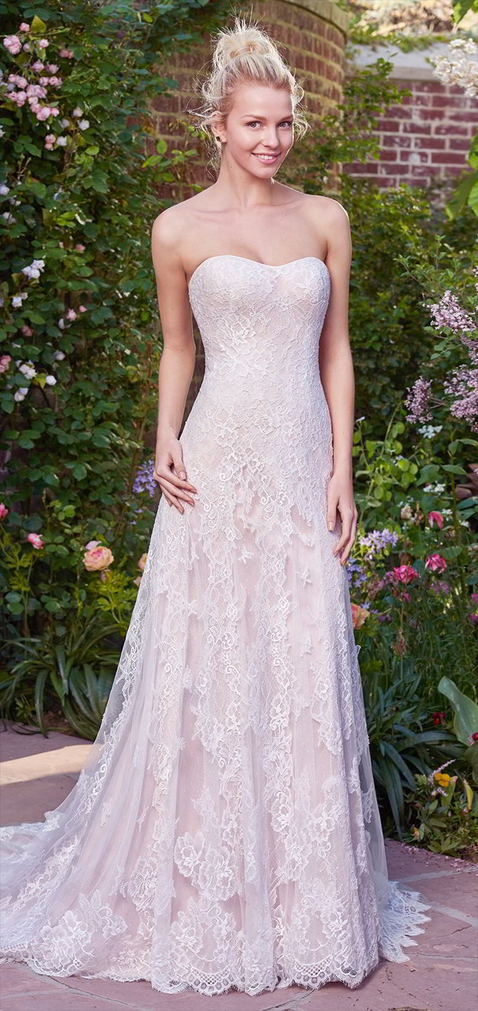 Dress Flare Lace Wedding Neckline Embellished Tulle Soft And And Sweetheart Fit Line