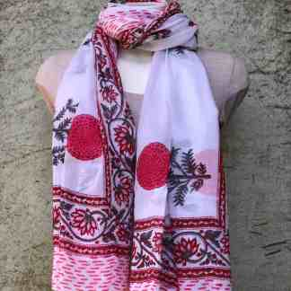 blockprint sjaal, poppy red