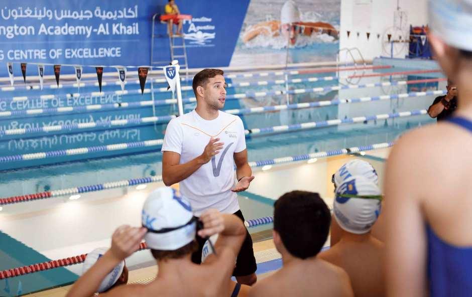 Chad le Clos addresses swimming scholars at GEMS Wellington Academy - Al Khail