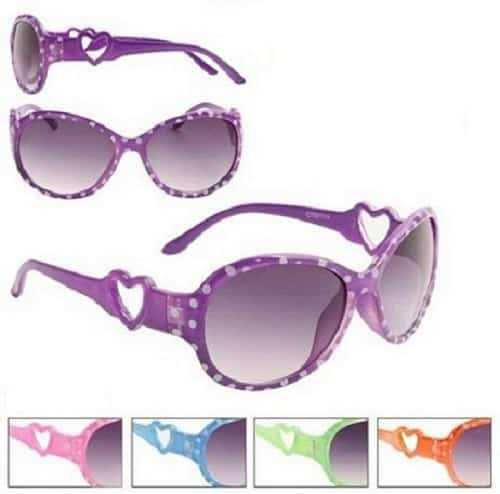 Girls Fashion Dotty Heart Sunglasses