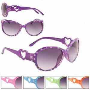 Girls Fashion Dotty Heart Sunglasses