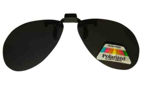 Clip on Flip up Polarised Sunglasses Aviator Rounded Large Dark