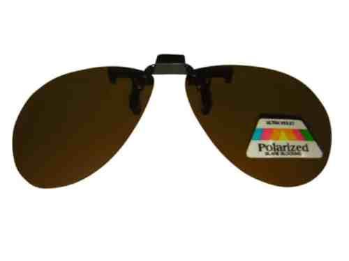 Clip on Flip up Polarised Sunglasses Aviator Rounded Large Amber