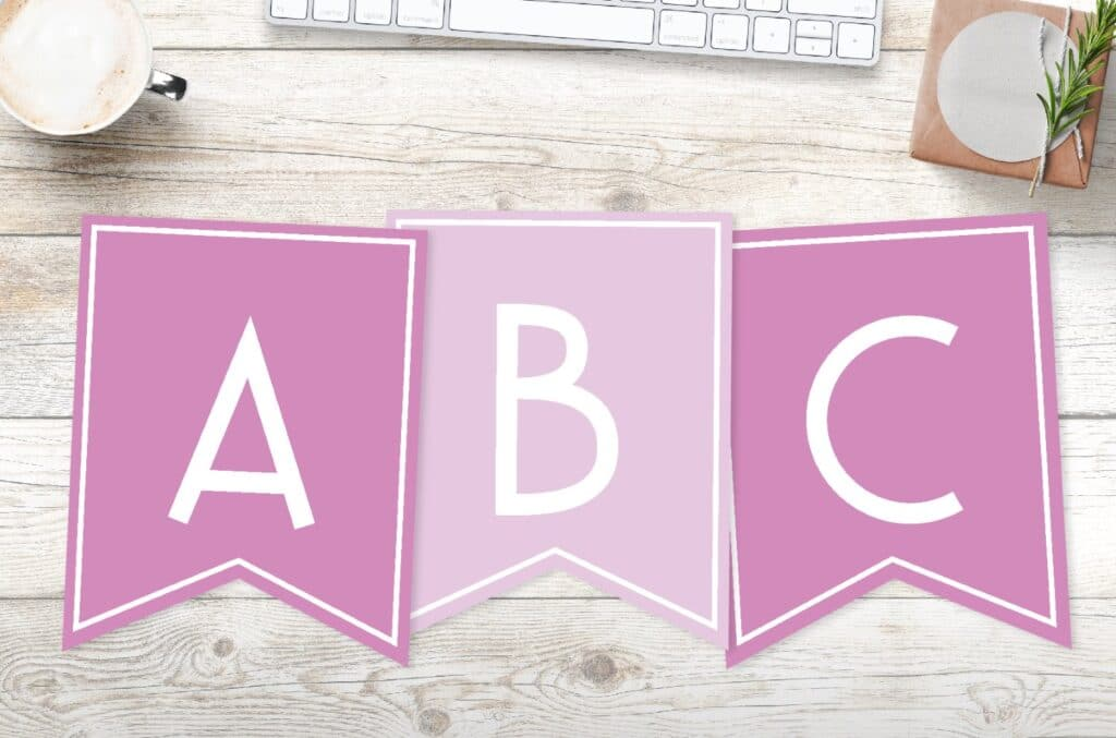 Free Printable Girls Pink Banner Letters World Of Printables