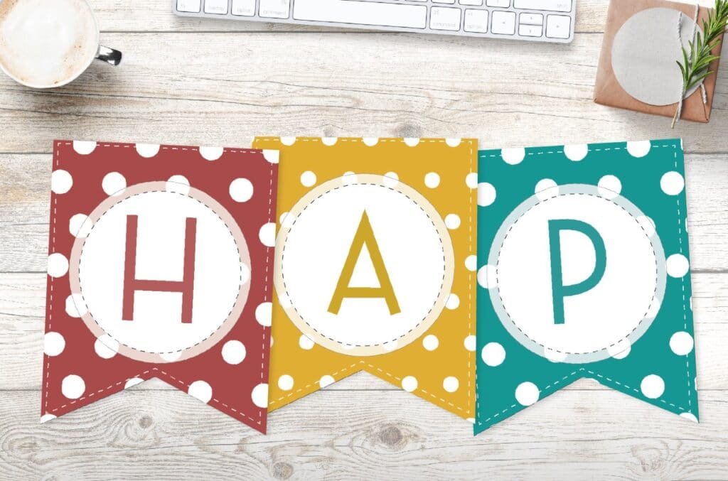 Free Printable Colorful Polka Dot Happy Birthday Banner Letters World Of Printables