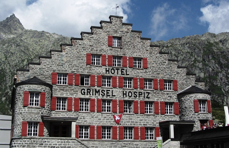 Grimsel Hospiz luxurious hotel, he cable car leads to this hotel in winter