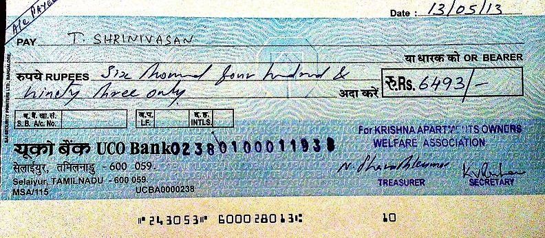 Writing bank cheque correctly, in safe and correct manner