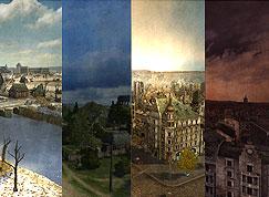 Diferentes Mapas como una ribera, un bosque, un pueblo; amanecer, atardecer; día claro, nublado....