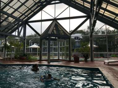 Inside heated pool