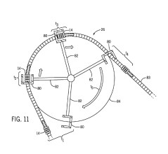 Overhead view of a launching mechanism attached to an arm or a turn table utilized to propel a ride vehicle at a motivating portion of a ride attraction path (United States Patent and Trademark Office)