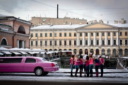 Bachelorette party in St. Petersburg, Russia.
