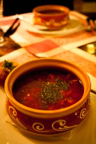 Authentic Russian borscht in Suzdal
