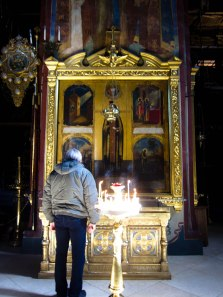 Prayer at Trinity Sergius Lavra in Sergiev Posad, known as the holiest place in Russia