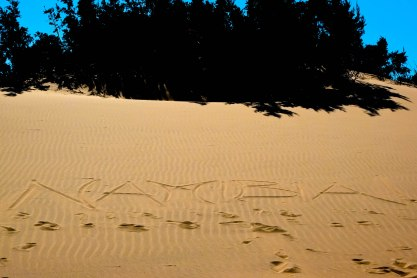 """Namibia!"" written in the Hoanib desert, Skeleton Coast (just before I found the porcupine quill!)"