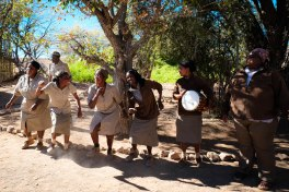 Singing and dancing at the Desert Rhino Camp