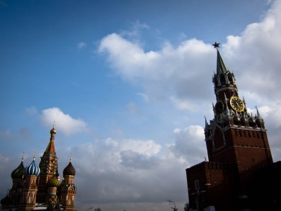 St. Basil's Cathedral (left) and the Kremlin in Red Square, Russia