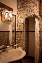 Centuries old tilework in our bathroom at Villa Mostar