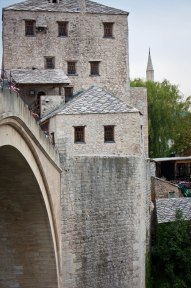 The old bridge looking on the left bank in Mostar, Bosnia and Herzegovina